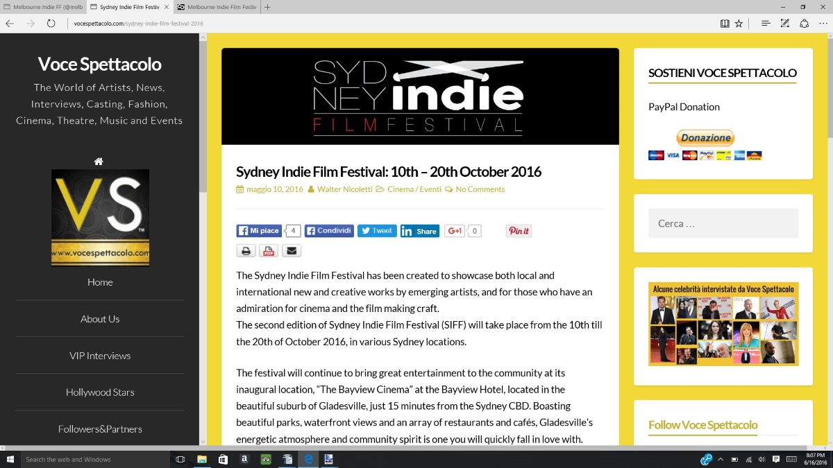 Sydney Indie FF Voce Espettacolo 2016