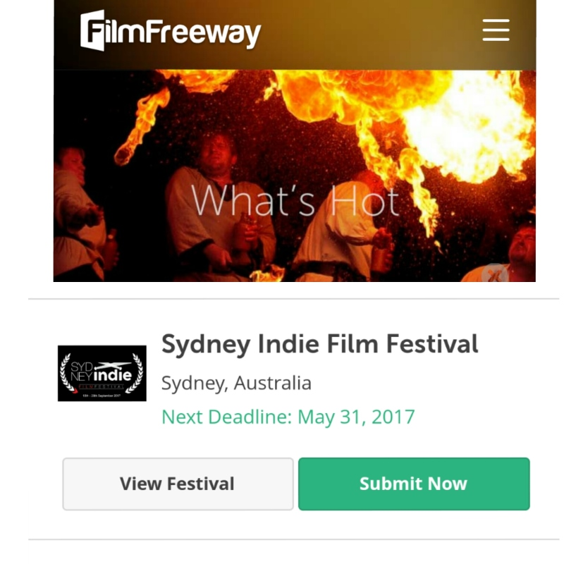 Sydney Indie Film Festival Whats Hot FilmFreeway List