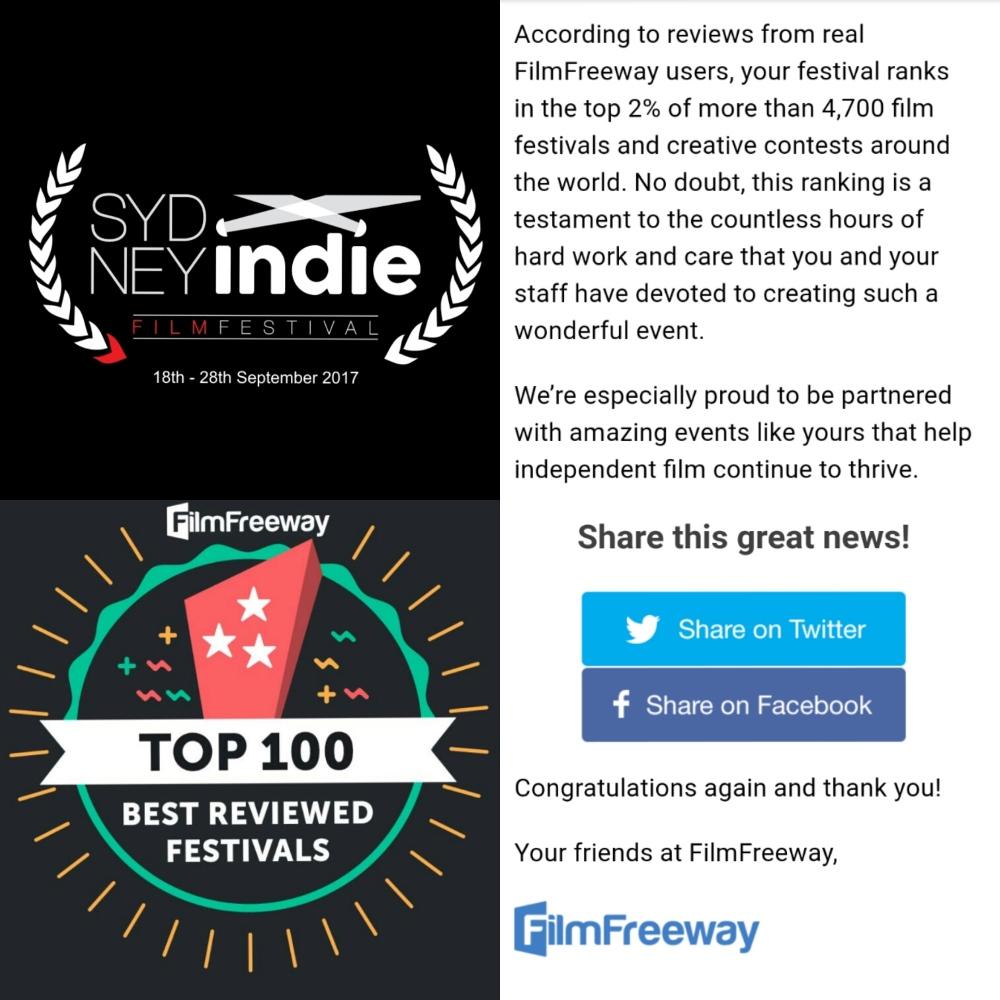 sydney indie film festival top 100 filmfreeway