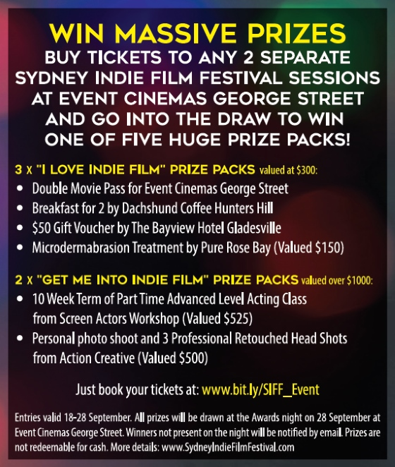 sydney indie film festival - prizes-giveaway