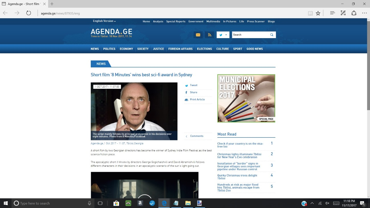 8 minutes featured at agenda.ge